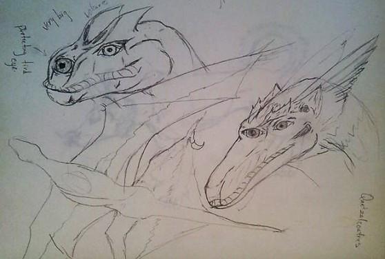 """""""Gedon"""" (dragon) heads - Jesus Gomez sketch"""